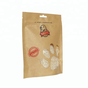 High quality resealable 200g kraft paper dog food plastic packaging bag with transparent window