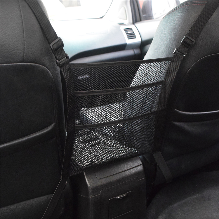 Car mesh pocket organizer, seat back net bag, barrier of backseat pet kids