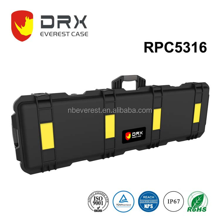 Hard PP portable military long diced foam plastic case for AR15 gun