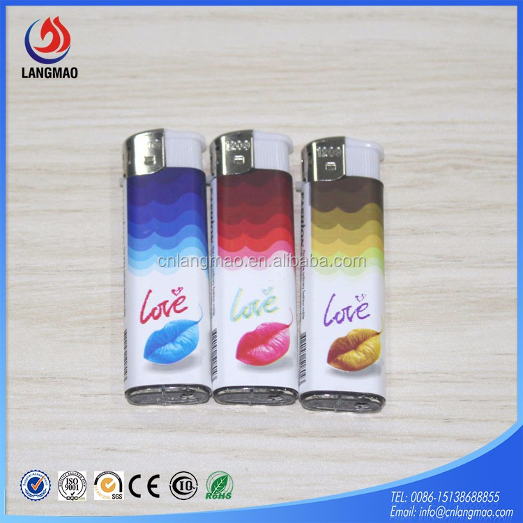 Top selling cheap refillable rubber painting cute butane gas plastic cigarette lighter making machine