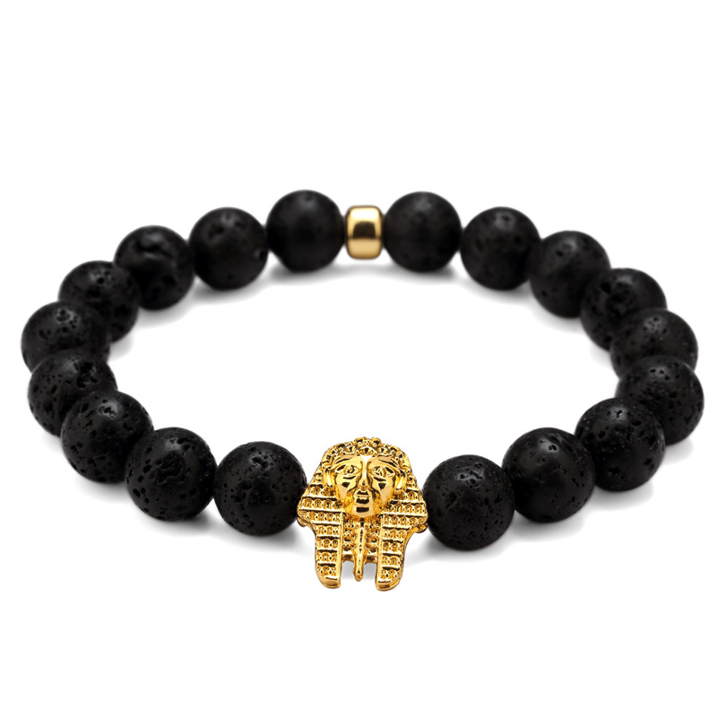Hiphop Jewelry Hot Sale Four Different Beads With Gold Plated Pharaoh Charm Bracelet Hip Hop Jewelry for Men