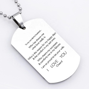 Dropshipping Men Stainless Steel Jewelry To My Wonderful Husband I Love You  Necklace Valentine's Day Gift YP6341