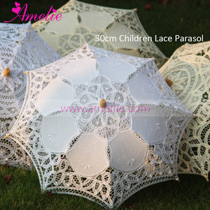 100% Cotton Lace Battenburg Handmade Wedding Decoration Flower Girl Children Lace Parasol