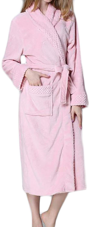 YUNY Womens Fleece Kimono Belt Winter Warm Lounge Robe Bathing Robe e1a39c7ae