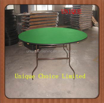 Used Unique PVC Edging Plywood Round Folding Banquet Table For Sale