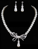 Wholesale Fashion Imitation Pearl Bow Bridal Necklace Earring Sets for Wedding Jewelry set