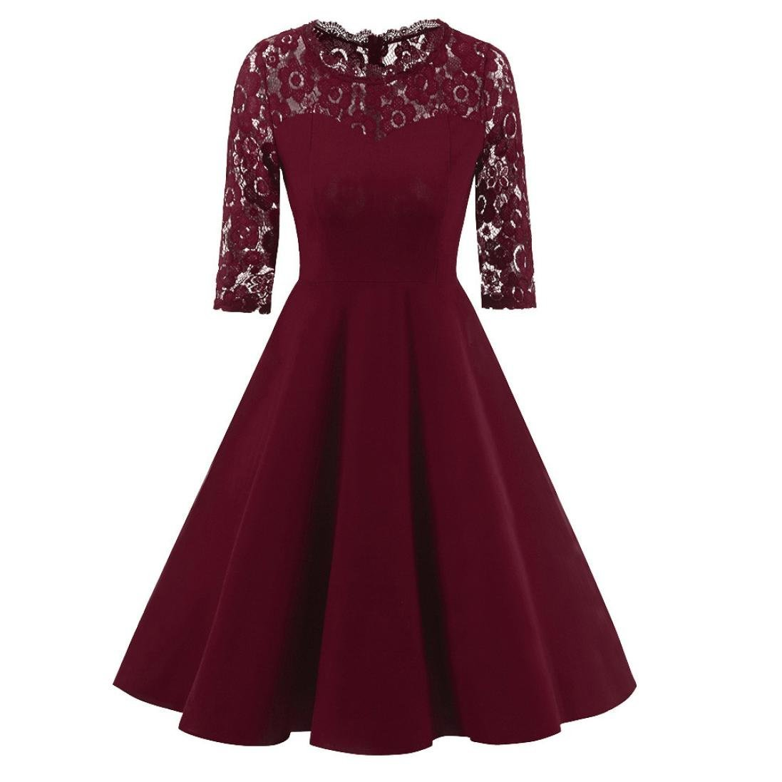 Women Dress Daoroka Ladies Sexy Lace Vintage Lace Half Sleeve Wedding Cocktail Evening Party A Line Swing Skirt Elegant Retro Fit and Flare Casual Fashion Cute Gift Fit Sundress (2XL, Wine)