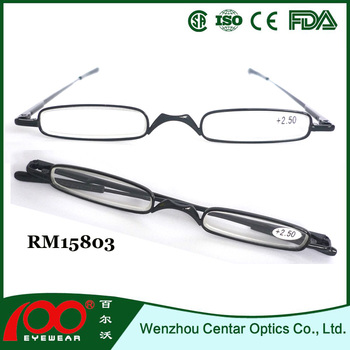 3466359551e 2015 Small frame reading glasses with metal case Wholesale reading glasses Slim  Metal reading