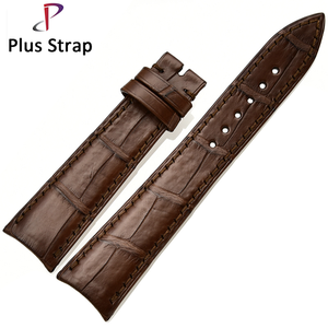 Two Design Pattern Crocodile Leather Watchbands 20 22 24mm Custom Leather Watchstrap