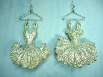 christmas ornaments champagne silver glitter acrylic ballet dress