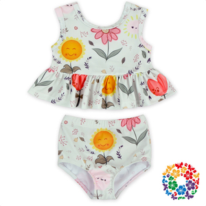 New Arrival Summer Fashion Cartoon Printed Girls Swimsuits Outfit High Quality Neoprene Fabric Swimwear YZA-025