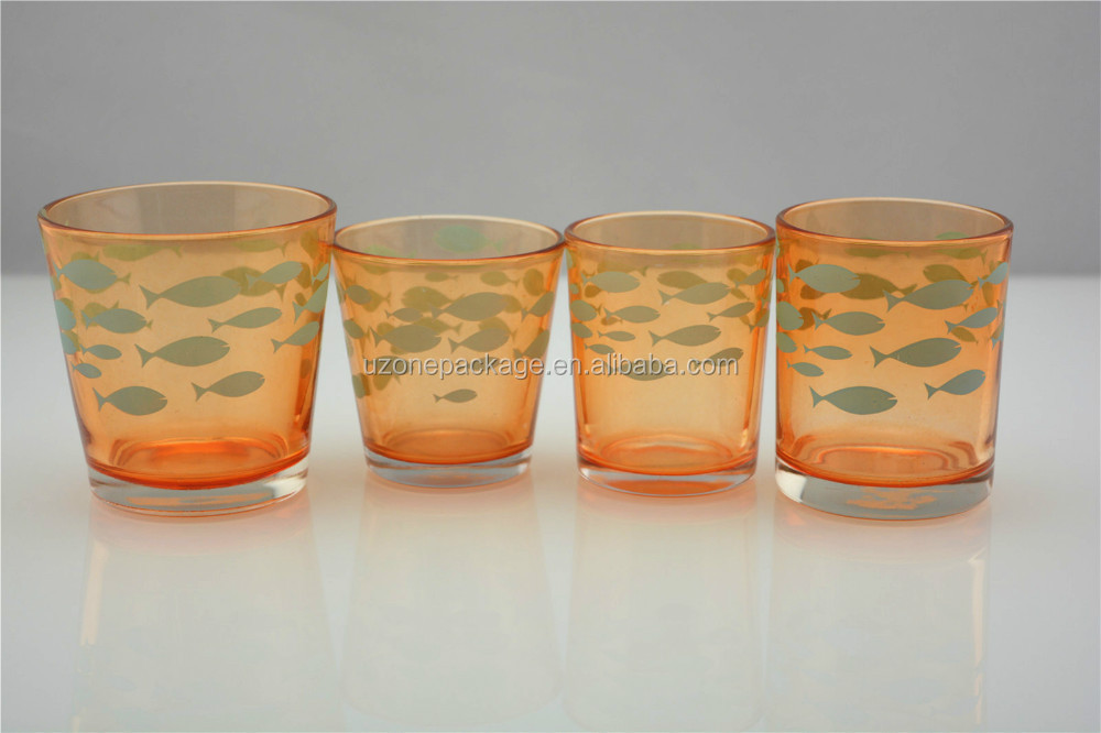 orange glass candle holder for home decoration