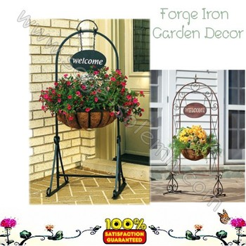 Decorative Welcome Wrought Iron Flower Planter