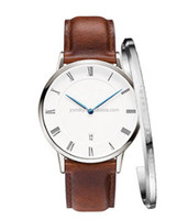 Fashion Mens Watches Top Brand Luxury Quartz Watch Men Casual Leather Strap silver watch
