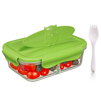 Owl shape 3 compartment high borosilicate glass school lunch box for kids