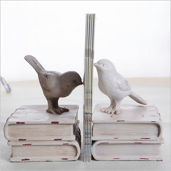 White Bird Shape Resin Bookend For Home Decor And Study 159062