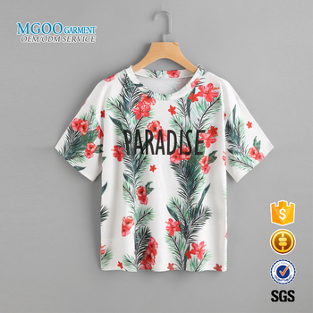 365e1210 Custom printed hawaiian shirt Wholesale 100% cotton white t shirts All over  print women t