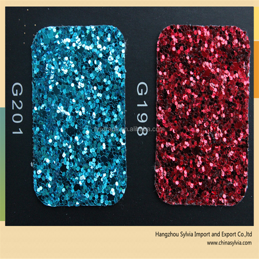 glitter of PU leather for bags