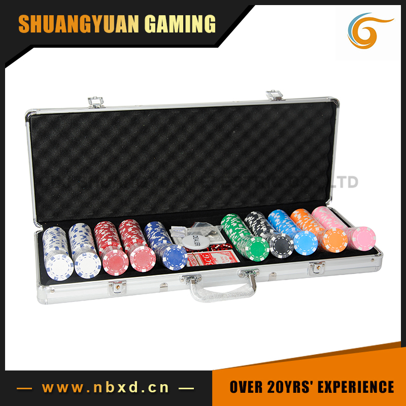 500pcs Poker Chip Set With Plain Surface Aluminum Case