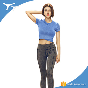 Wholesale lady sport wear short sleeve compression simply sport t shirt women workout crop top