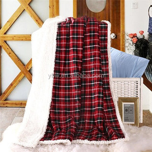 extremely soft and good looking red plaid micro fleece with sherpa backing fleece throw office nap blanket