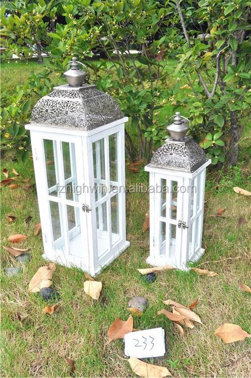 White Wooden Box Galvanized Garden Lanterns Candlestick