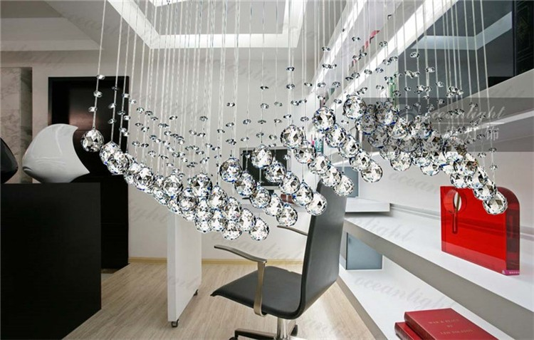 Chrome Linear Crystal Pendant Chandelier transparent Crystal Chandelier Ceiling Pendant 6 Lights Lamp Lighting Fixture Om711