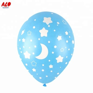 Mini Birthday Decoration Helium Blue Star Printed 5 inch Latex Balloons