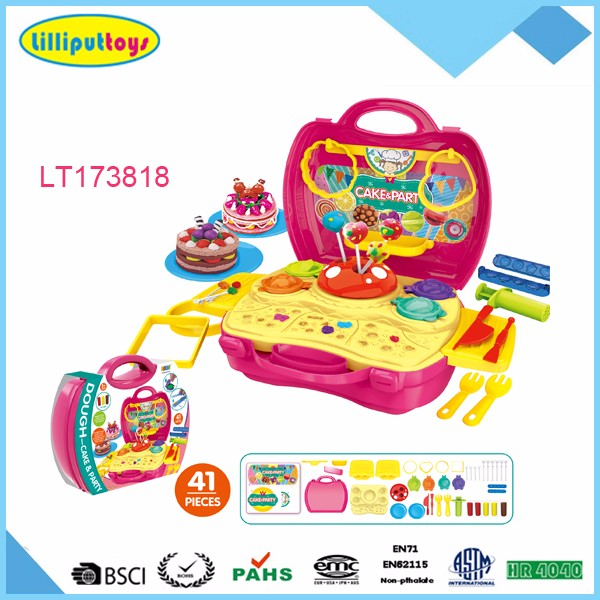 Plastic Suitcase Toy Play Dough Dinosaur Set With Color