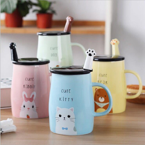 UCHOME eramic Cute Coffee cartoon Mugs with Spoons Perfect Gifts for Friends