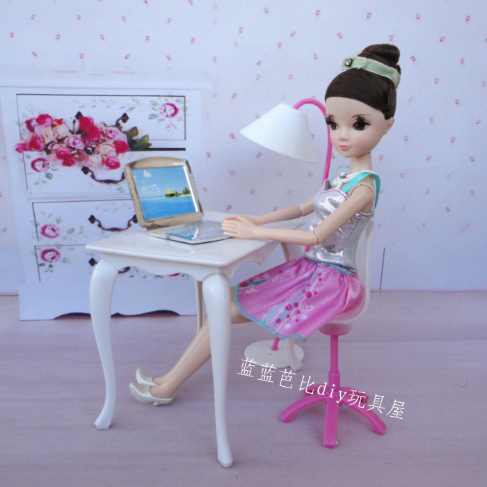 Free Shipping doll furniture desk lamp laptop chair phone 5 accessories for Barbie Doll girl play