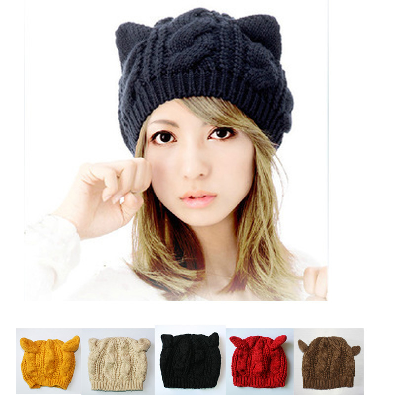 6bfb478e Knitted Winter Hat Beanies Warm Ski Caps Hats For Women Ladies Fashion  Brand Cycling Skullies Beanie