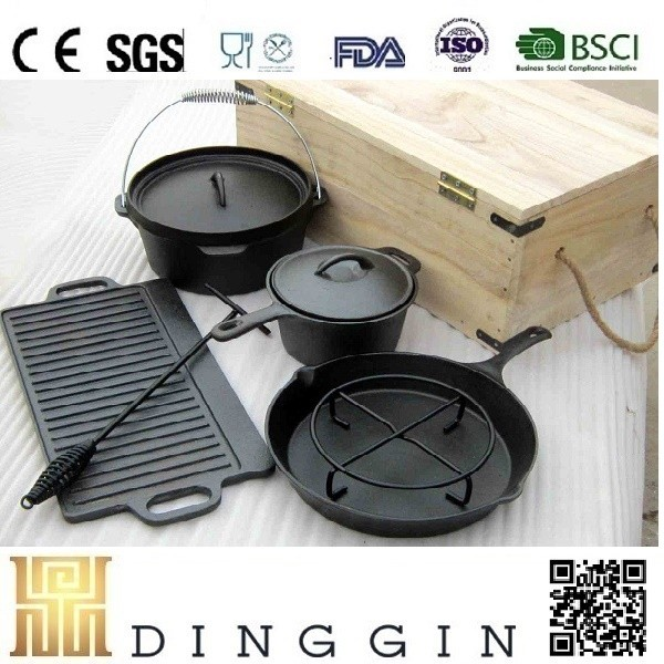 outdoor camping pre-seasoned cast iron dutch oven set