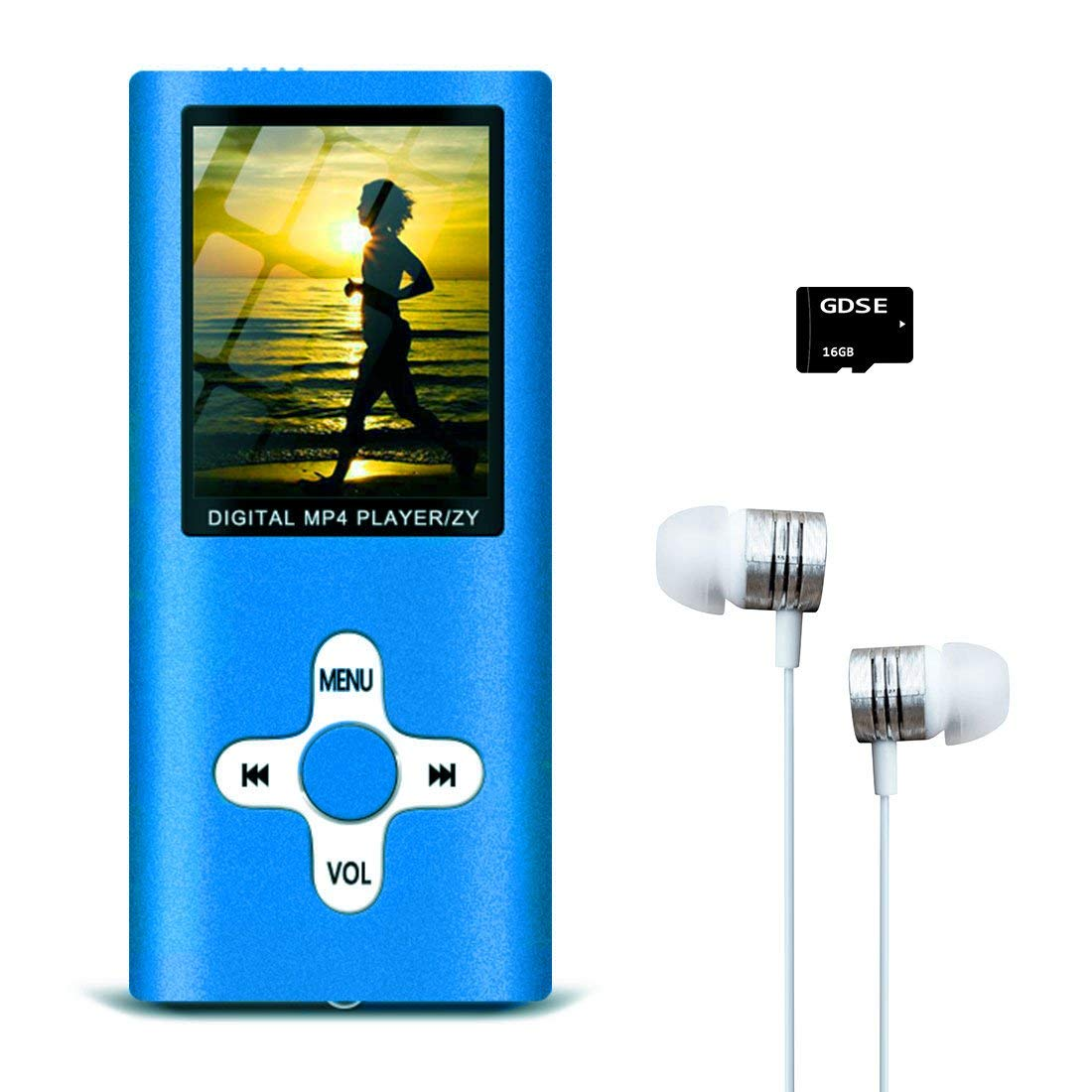 MP3/MP4 Music Player with FM Radio/Video Player/Voice Recorder/E-Book Reader, Compact and Portable Hey-Elecs MP3/MP4 Player, Including a 16GB Micro SD Card, Ultra Slim 1.8in LCD Screen - (Blue)