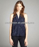 Navy Lace Sleeveless Button Front Blouse,designer clothing manufacturer in China