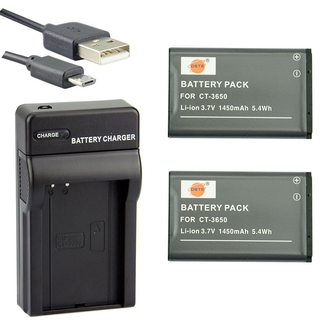DSTE CT-3650 Li-ion Battery (2-Pack) and Micro USB Charger Suit for Contour GPS HD 1080P