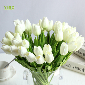Venda quente Do Casamento Decorativa PU Real Toque de Flores Artificiais Tulipas Branco Flor Artificial