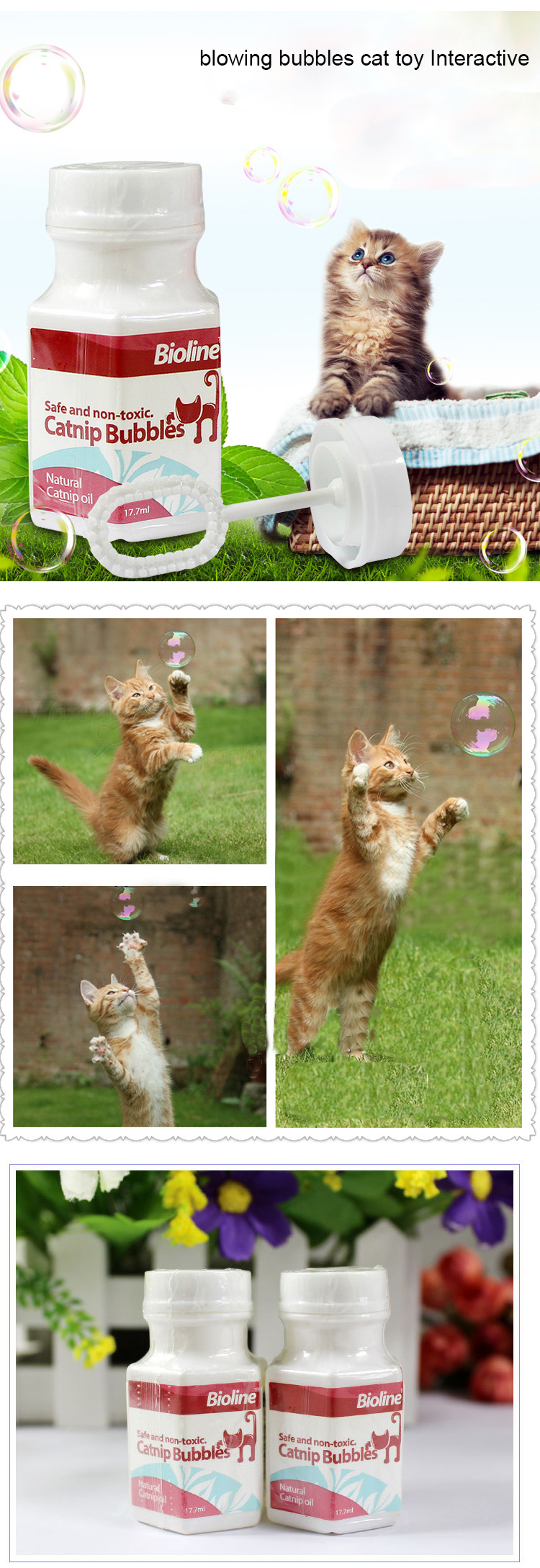 Catnip Blowing Bubbles Sports Gato Brinquedo Interativo