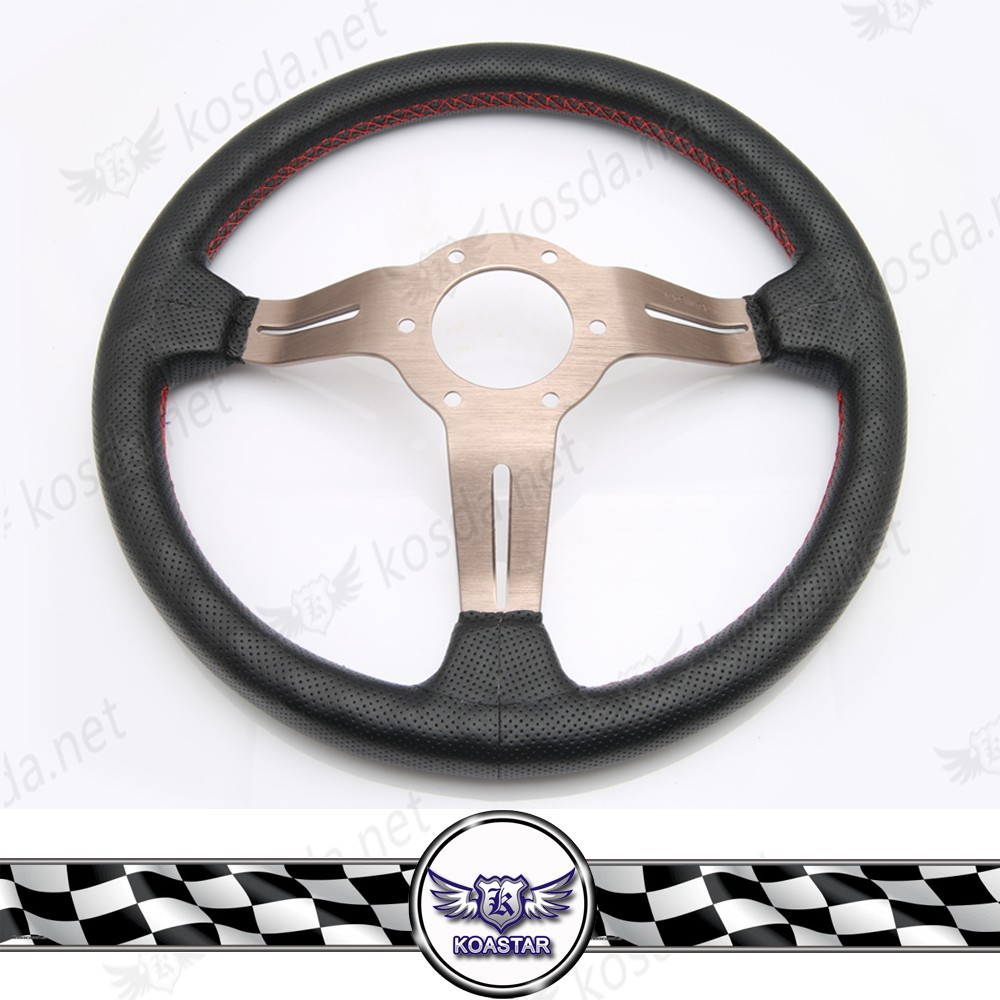 14inch Leather Steering Wheel, Titanium Spoke Quick Release Steering Wheel with Horn Button.