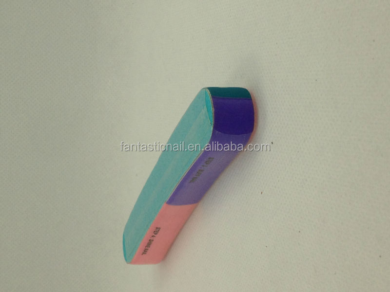 C-Curve Design colorful 7 Sided colored foam Nail Buffers Block