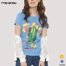 Wholesale customised cacti motif printed slim fit artful custom t-shirt