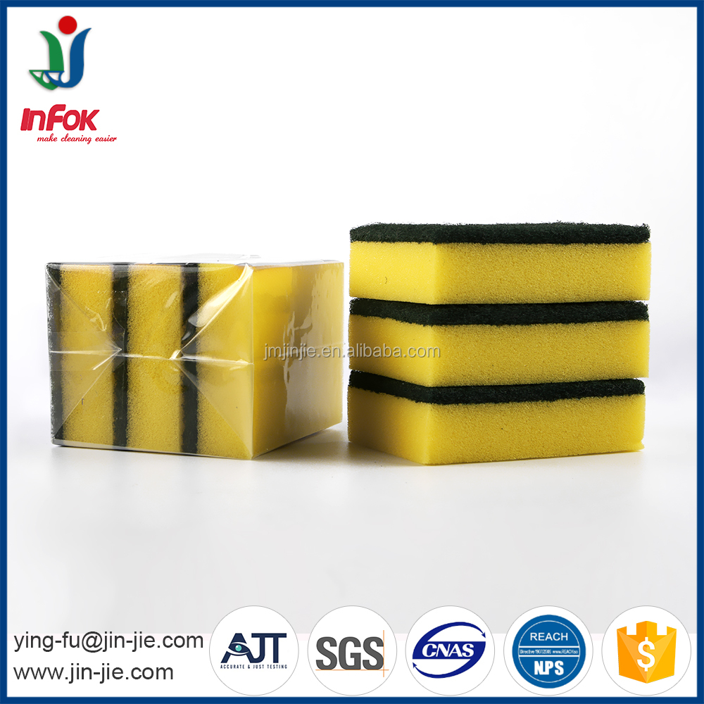 OEM cleaning sponge scourer with Abrasive Scouring Pad