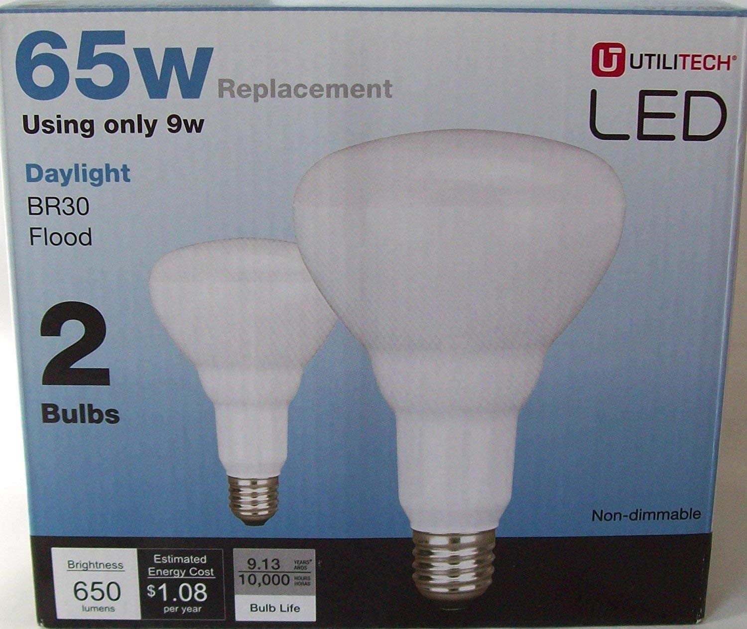 Utilitech 4-Pack LED Br30 65W(9W) Indoor Recessed Flood Light Daylight Bulbs Non-Dimmable