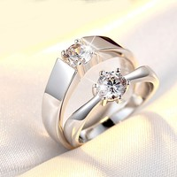 couple Wedding rings adjustable Silver Plated Four Prong Rhinestones Inlaid Size Opening Adjustable Silver Plated Rings Mix