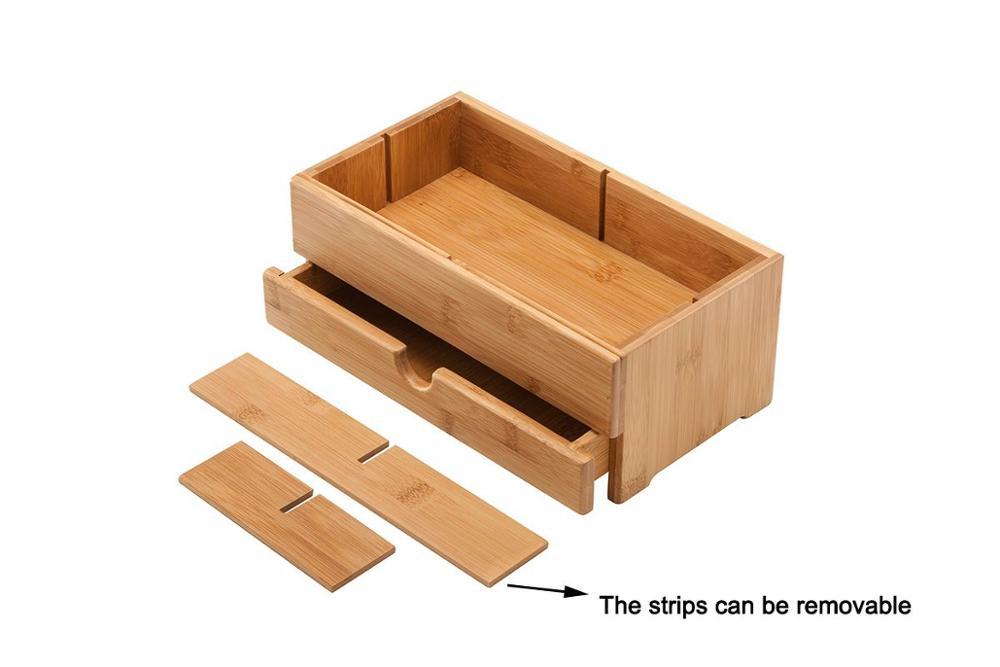 Organisateur de bureau en bambou en bois cosmétiques boîte de