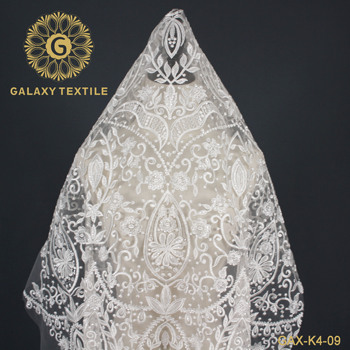 Luxury thickness Nylon Cotton bridal lace fabric embroidery for wedding dress