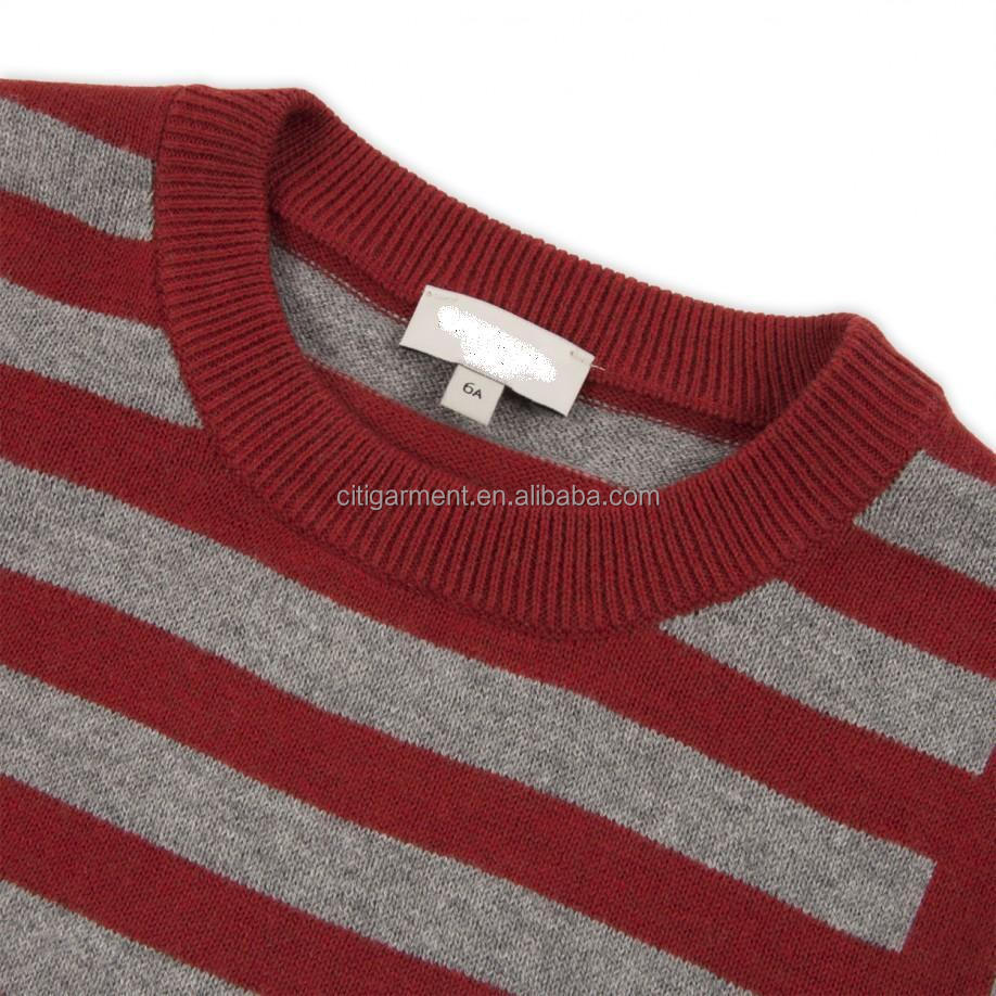 Boys' 2-6 Years Burgundy And Grey Striped Sweater - Buy Purple And ...