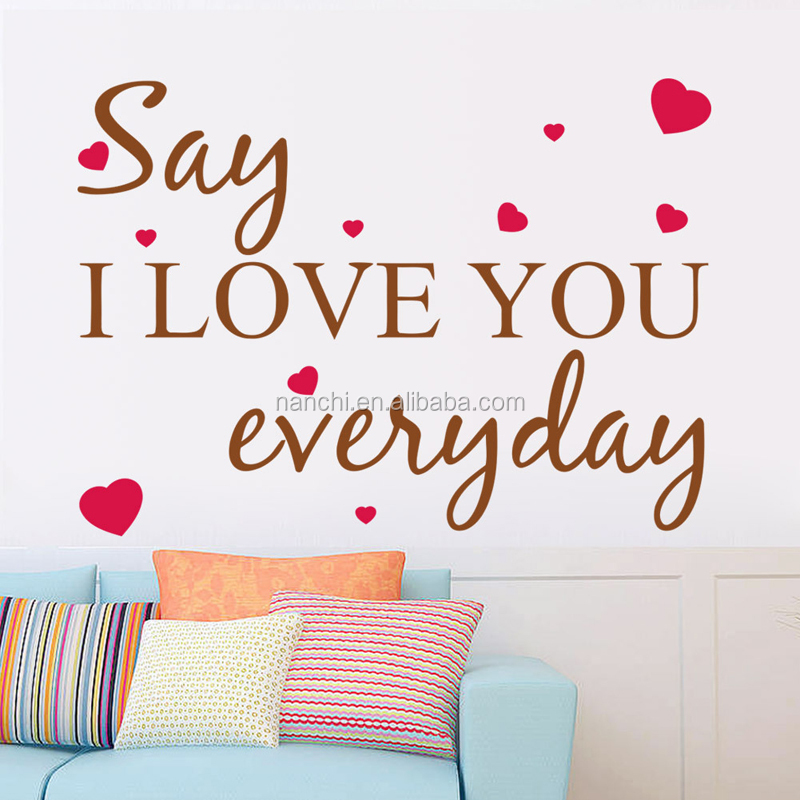 Wall Decal Say I Love You Everyday Heart Words Large Nice Wall