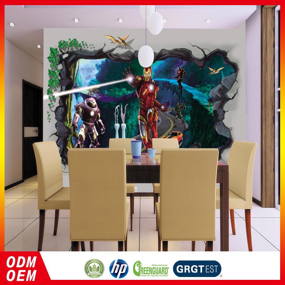 3D carta da parati del fumetto iron Man design wall murals bambini ...