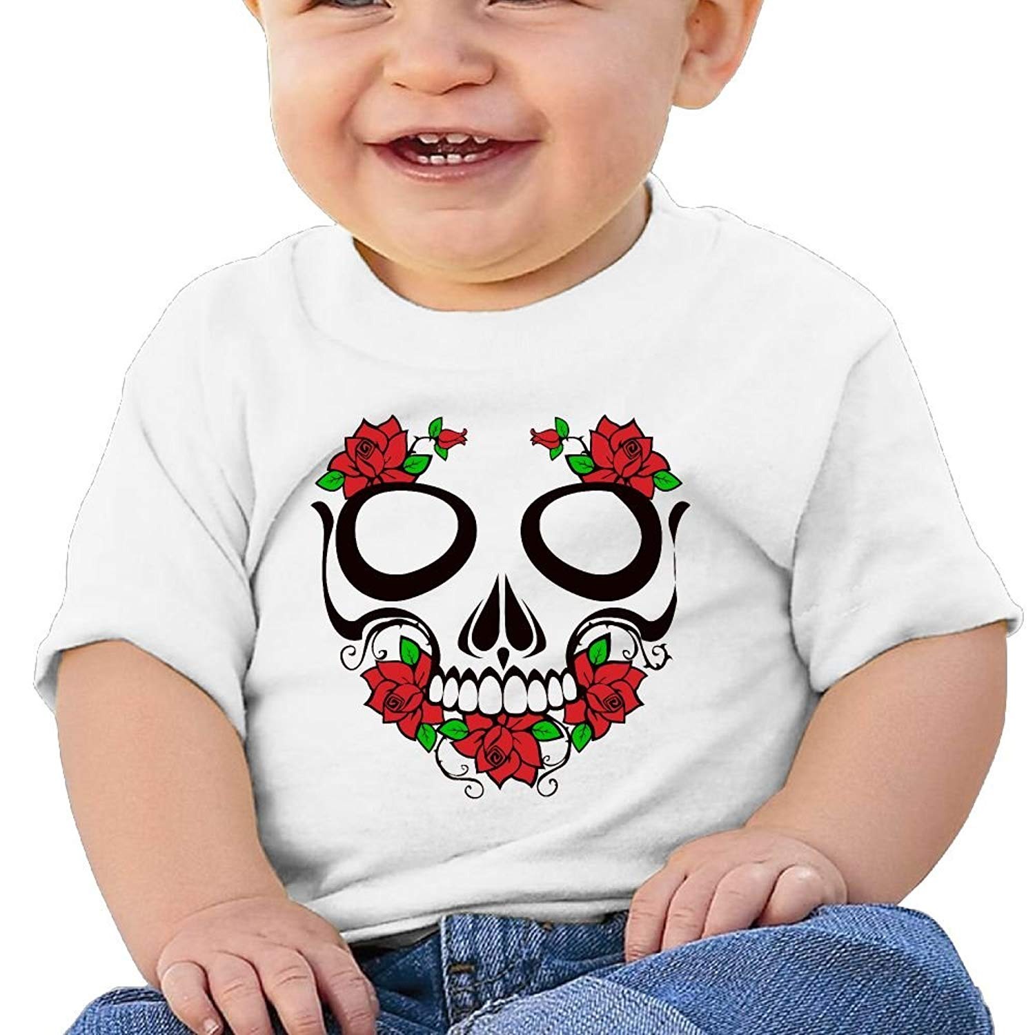 4f5719a4 Get Quotations · Skull And Roses Cute Cotton Soft O-neck Short Sleeves T- Shirt For 6